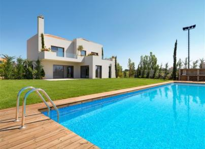 Modern luxury villa with perfectly landscaped gardens