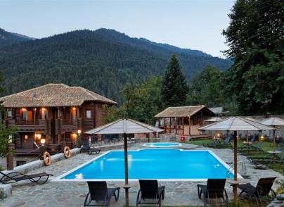 A stunning log chalet type villa in peaceful and verdant location